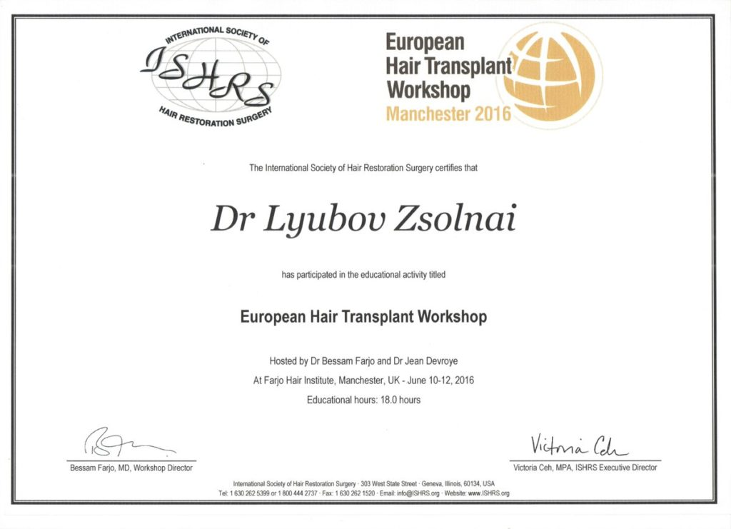 European Hair Transplant Workshop Certificate